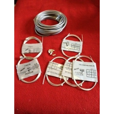 Lot 6m Gaine grise + 2 cables frein + 2 Cable gaz + 2 cable décompression Mobylette Motobecane